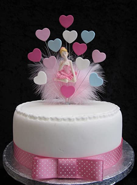 Ballerina Birthday Cake Topper With Hearts And Marabou Feathers