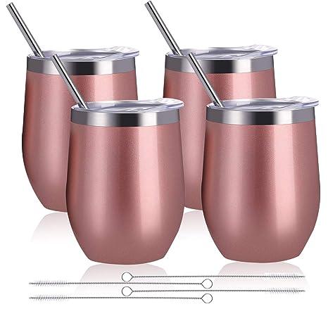 Amazon.com: Zonegrace - Juego de 4 vasos de vino de acero ...