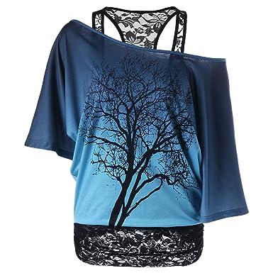 4aeb63480e74 iBaste 2-in-1 T-Shirt Baum Design cold shoulder Bluse Spitze Transluzent