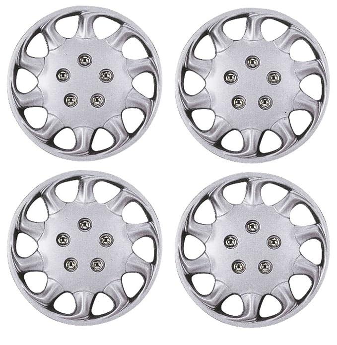XtremeAuto® 16 inch Cubo de rueda Llantas Juego de funda de 4 completo con lazos, tapas de válvulas y adhesivo: Amazon.es: Coche y moto