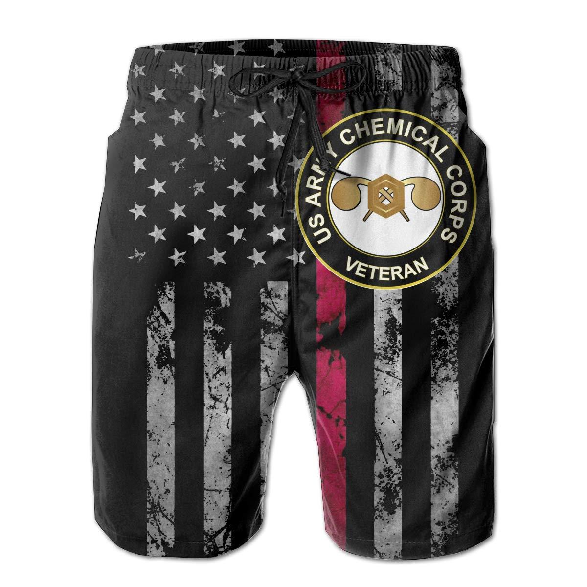 Trikahan US Army Veteran Chemical Corps Mens Beach Shorts Swim Trunks Summer Shorts Running Shorts