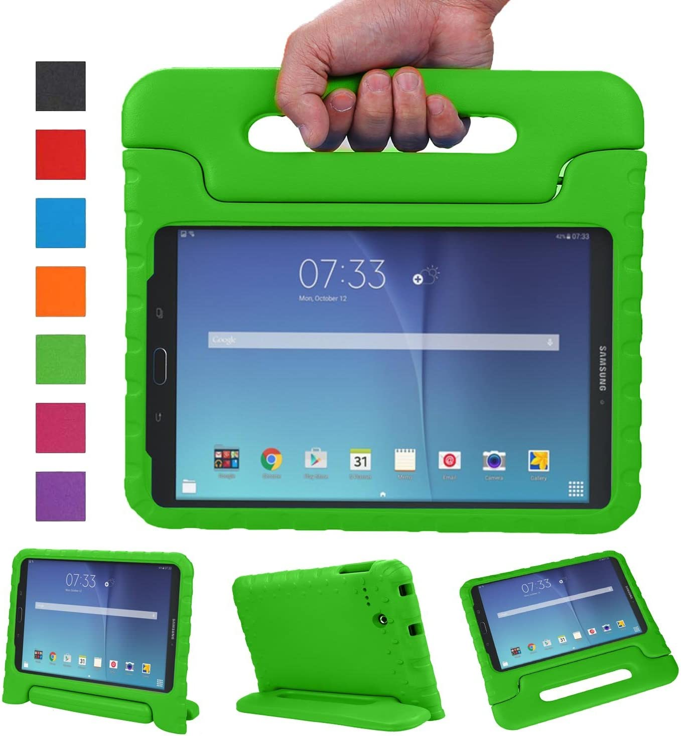 NEWSTYLE Tab E 8.0 Kids Case - Shockproof Light Weight Protection Handle Stand Kids Case for Samsung Galaxy Tab E 8.0 Inch 2015 Tablet (Not Fit Other Tablet) (Green)