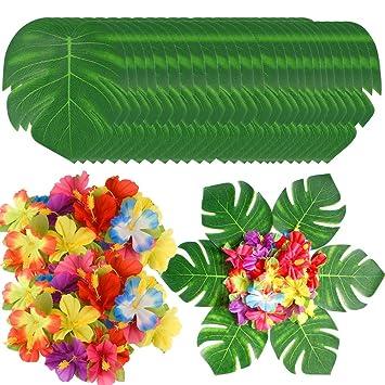 90 Pcs Feuilles De Palmier Tropicales Et Fleurs D Hibiscus Monstrea