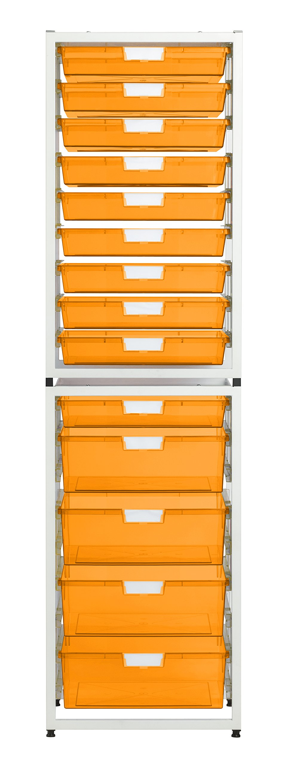 StorSystemUSA CE2319WFO 14 Tray Wall Tower Crystal 'Wide Line' Metal Unit, Neon Orange by StorSystemUSA