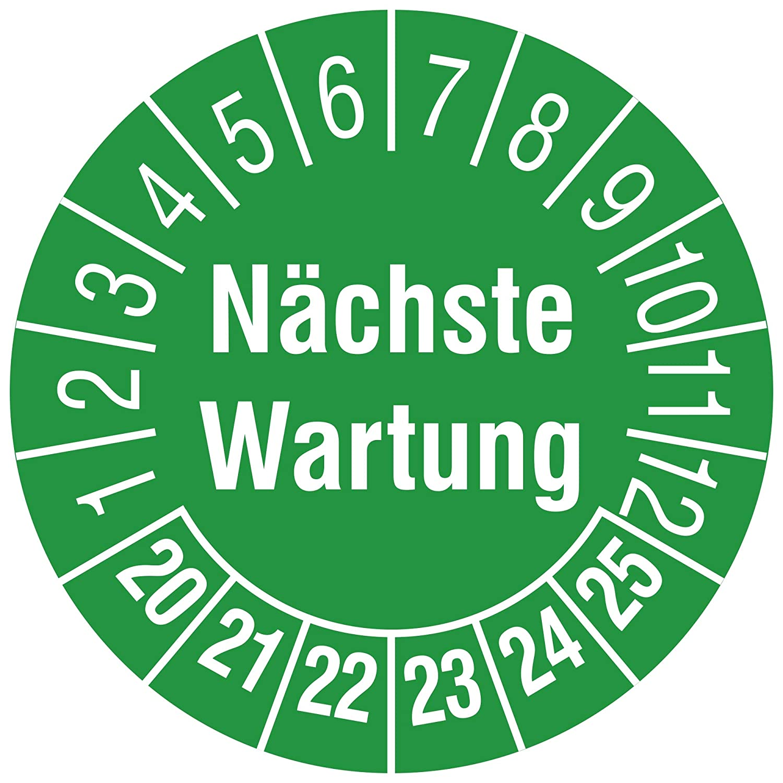 /Ø 15 mm Aufdruck wei/ß Mehrjahrespr/üfplakette Vinylfolie gr/ün Zeitraum 2020-2025 240 St/ück Labelident Pr/üfplaketten N/ächster Pr/üftermin DGUV Vorschrift 3