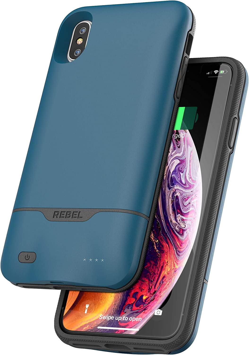 Encased iPhone Xs Max Battery Case - 5270mAh Protective Charging Case with Extended Smart Power Reserve (Rebel Blue)