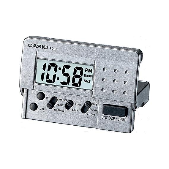 1b0a568bbebe Despertador CASIO PQ-10D-8R - Despertador Digital de viaje con luz y  repetición. Color gris  Amazon.es  Relojes