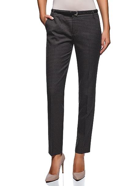 oodji Ultra Mujer Pantalones Básicos con Cinturón  Amazon.es  Ropa y  accesorios 12f697f19b5