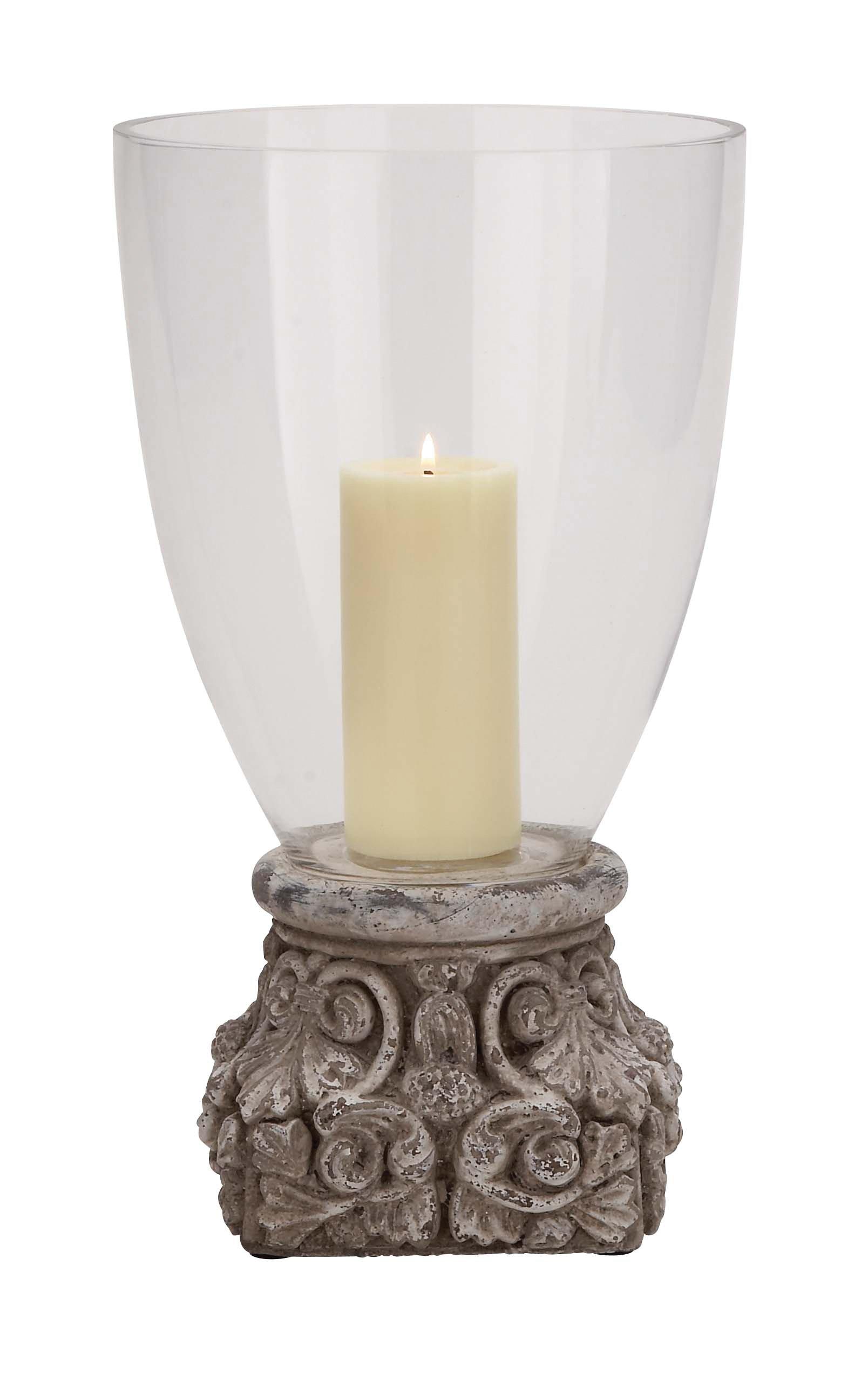 Benzara 38826 Enthralling Styled Terracotta Glass Hurricane