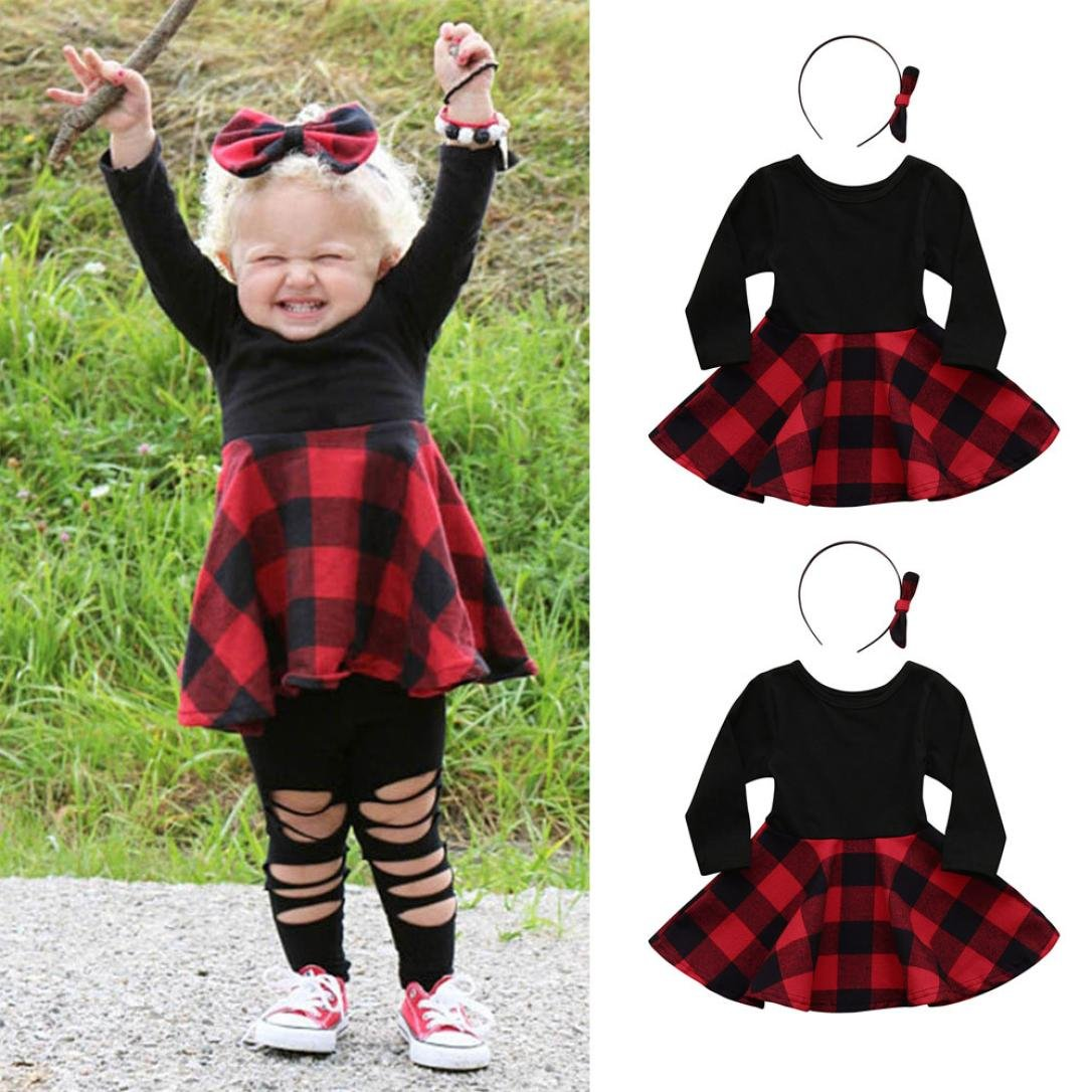 Black, 6-12 Months Kehen 2pcs Spring Outfits Long Sleeve Plaid Mini Dress Tops+Bows Headband Sets for Toddler Baby Girls