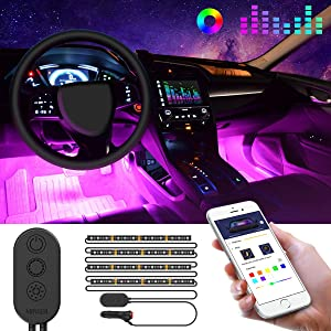 Unifilar Car LED Strip Light, MINGER 4pcs 48 LED APP Controller Car Interior Lights, Waterproof Multicolor Music Under Dash Lighting Kits for iPhone Android Smart Phone, Car Charger Included, DC 12V