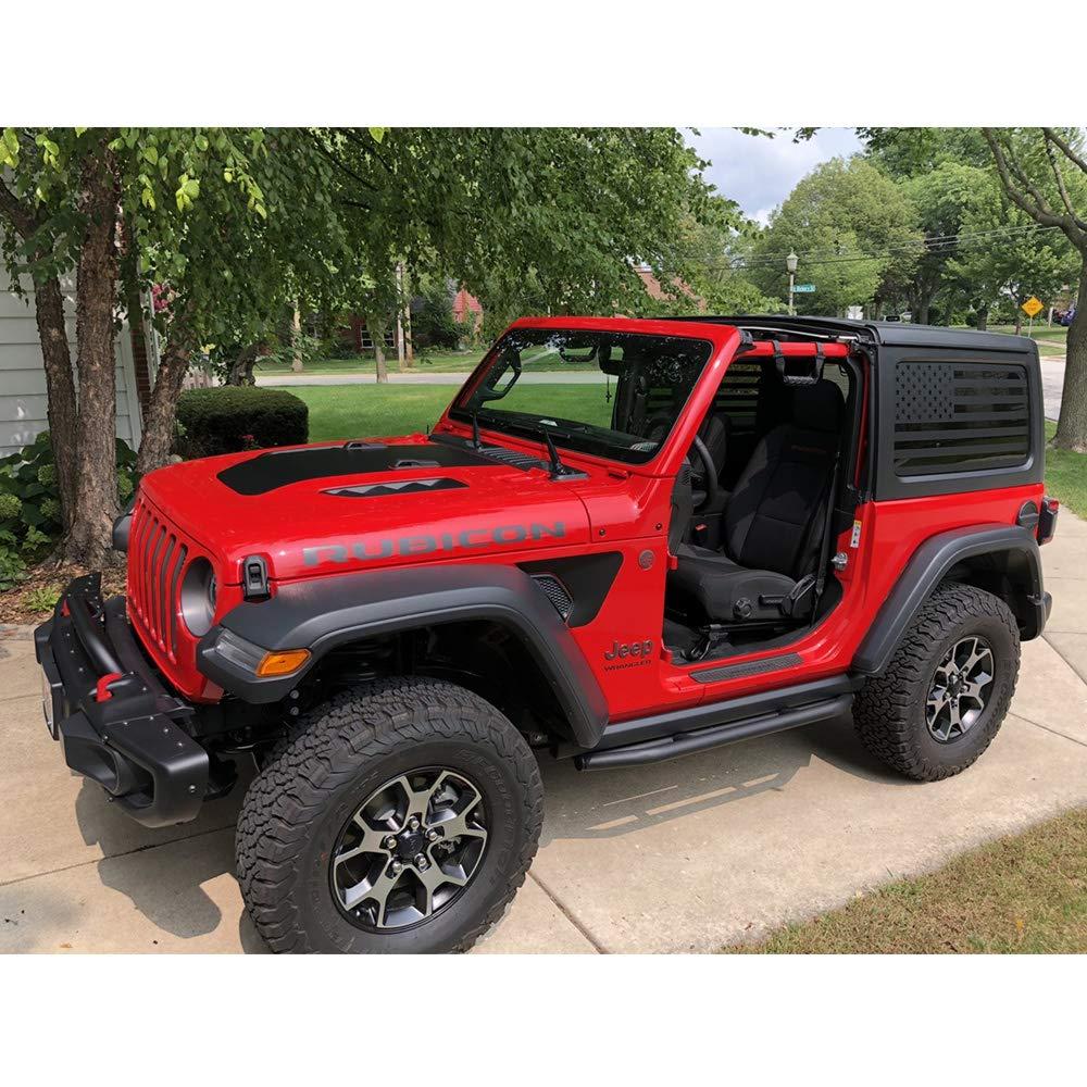 XPLORE OFFROAD® Precut USA Flag Window Decals 2 Door Matte Black American Vinyl for Rear Side Windows XPLORE OFFROAD Both Sides JKU 2011-2017 Jeep Wrangler