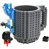 Build-On Brick Mug Lego Type Creative DIY Building Blocks Coffee Cup Water Bottle Puzzle Toy Mug 12oz 350 ml Desk Ornament Christmas Gift (Yellow)