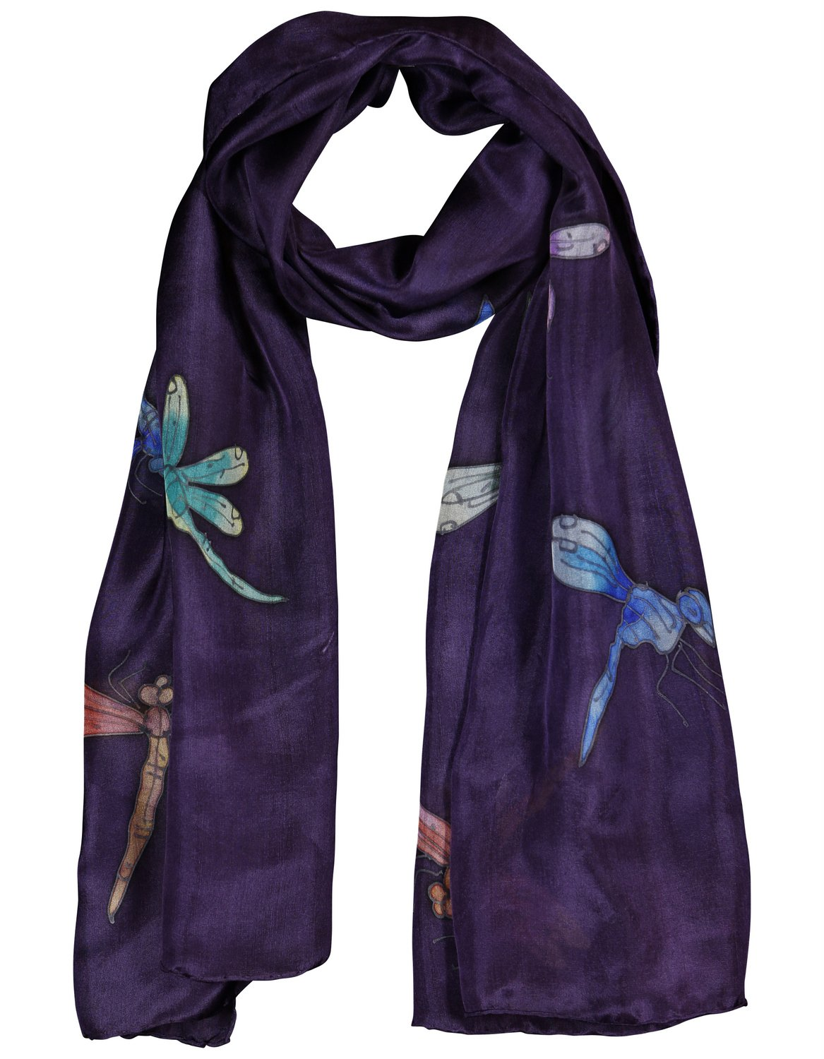 Invisible World Women's Silk Scarf Hand Painted Dragonfly 7202090101