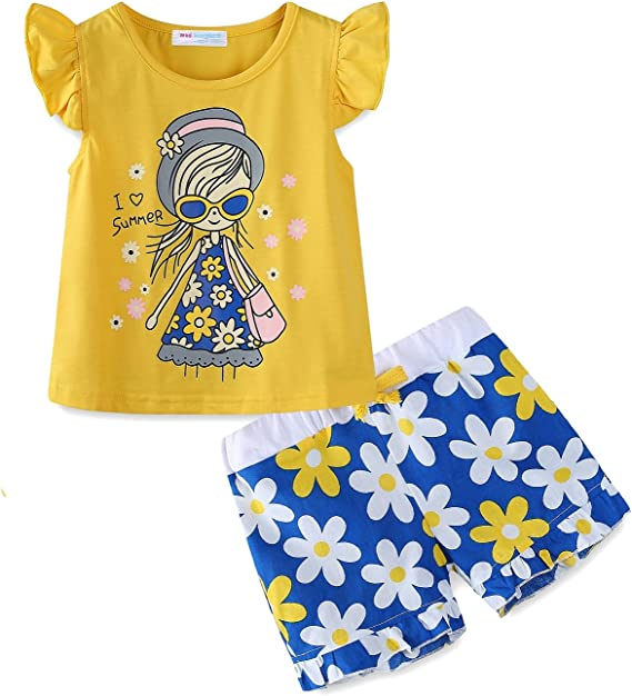 Mud Kingdom Little Girls Short Sets Summer Holiday Daisy Flower Outfits:  Amazon.ca: Clothing & Accessories