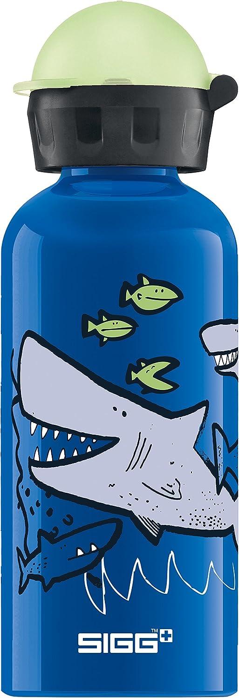 Sigg Sharkies Cantimplora Infantil (0.4 L), Botella para niños sin sustancias nocivas y con Tapa hermética, cantimplora Ligera de Aluminio