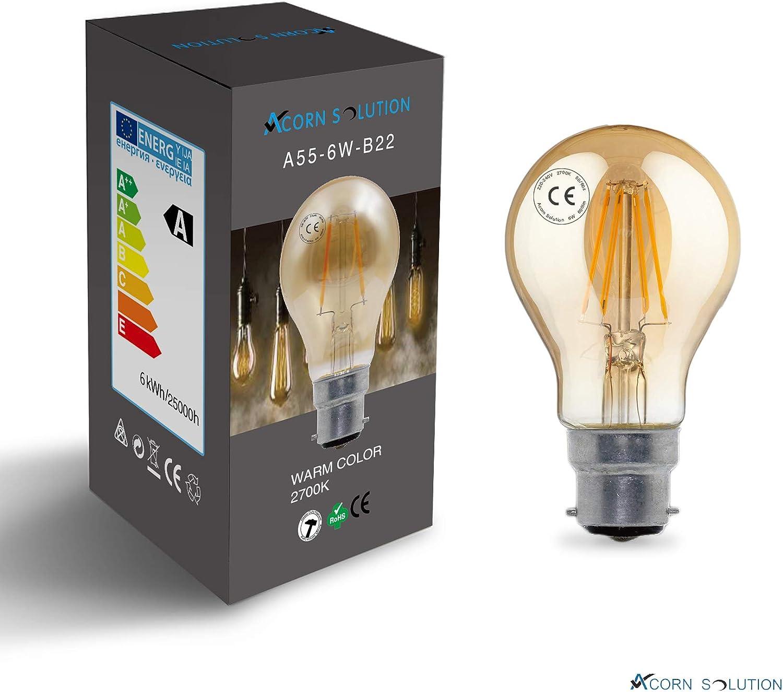 AcornSolution Vintage Edison LED Light Bulb Exposed Filament 4W-E27-G80, LED Vintage Edison -4 Pack G80 Teardrop Squirrel Cage Style Medium Base