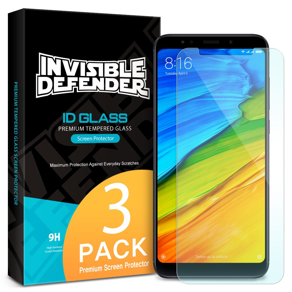Xiaomi Redmi Note 5/Redmi 5 Plus Tempered Glass Screen Protector - Ringke Invisible Defender [3-Pack] Case Compatible Ultimate Clear Shield, High Definition Quality, 9H Hardness Technology
