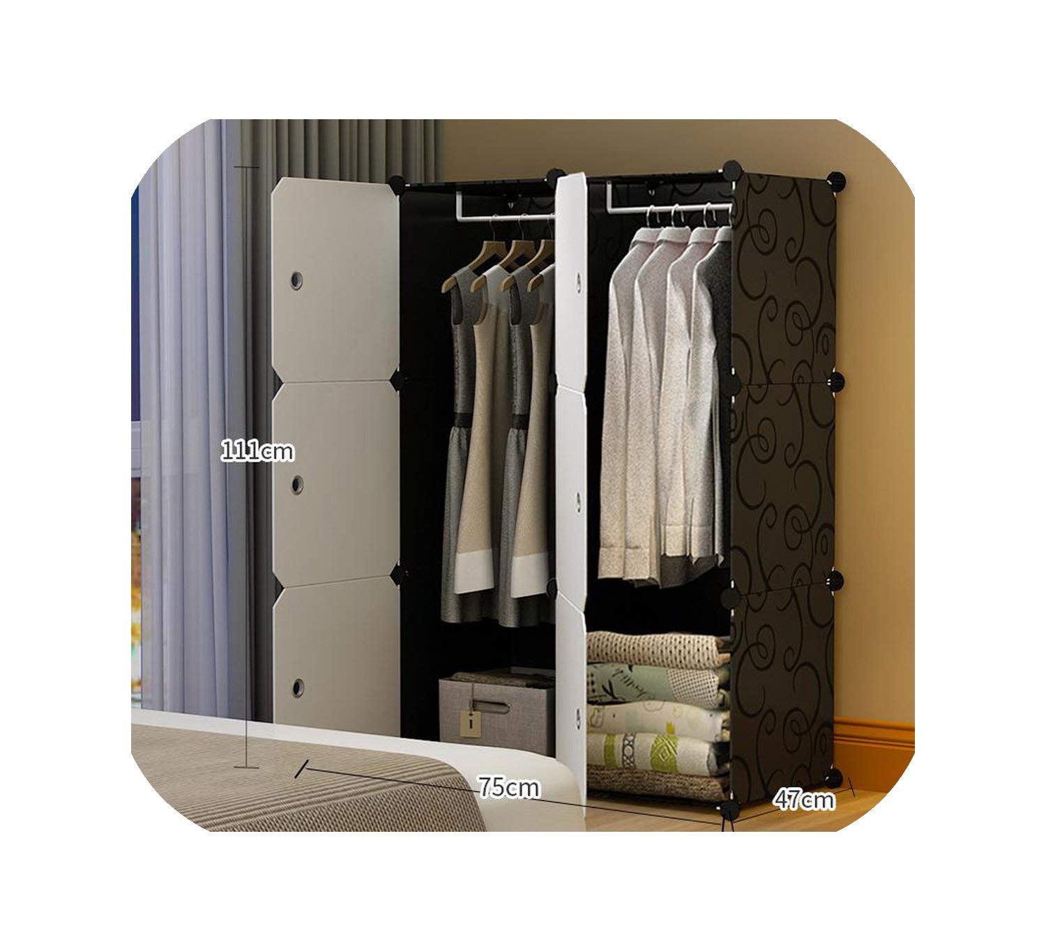 Simple Wardrobe Simple Modern Economy Plastic Assembly Wardrobe Bedroom Space Dormitory Storage Cabinet,Package 1