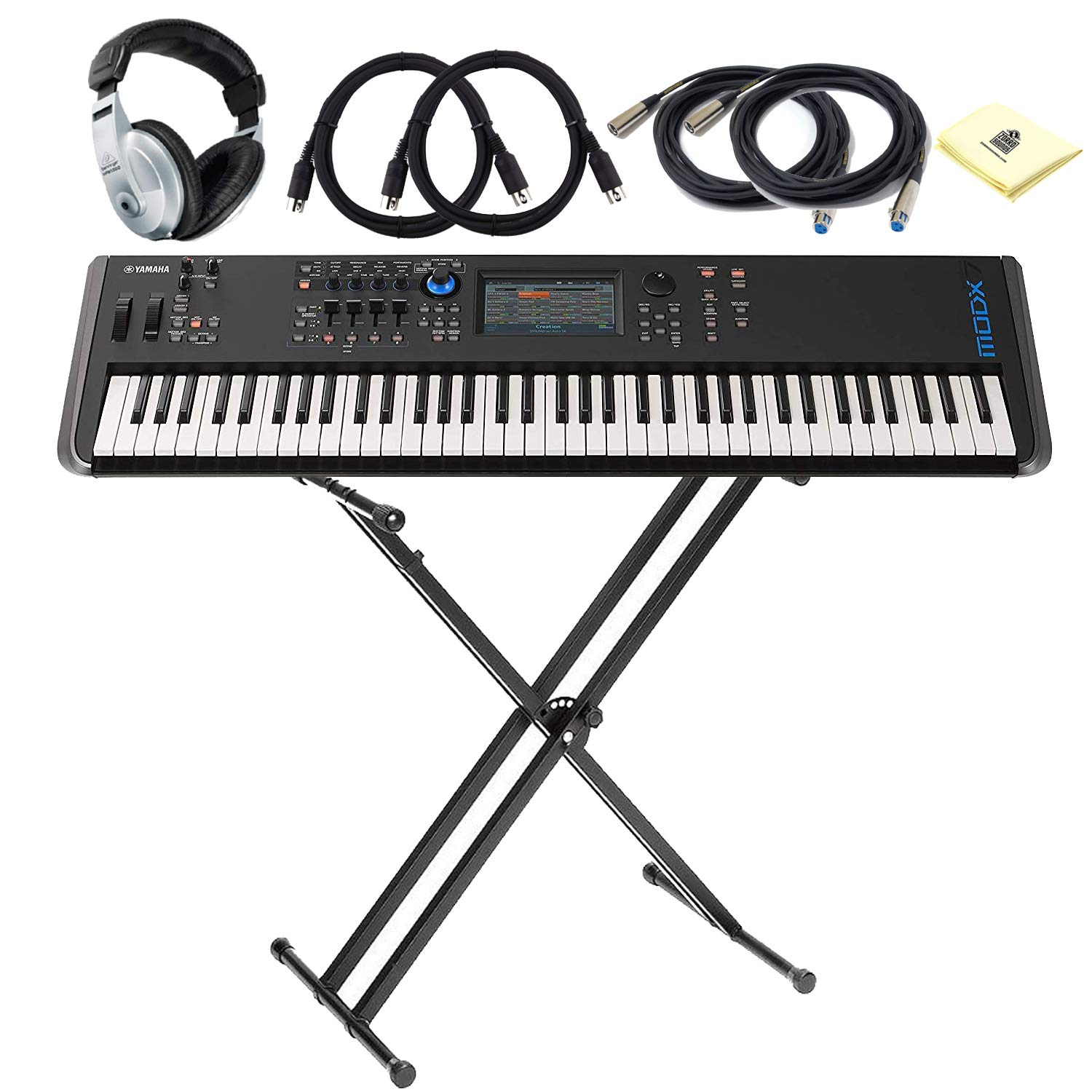 DAW and VST Control BUNDLE with Keyboard Stand 2 x Senor MIDI Cable /& Microphone Cable Headphone and Zorro Sounds Cloth Yamaha MODX7 76-key Synthesizer with LC Synth-weighted Action