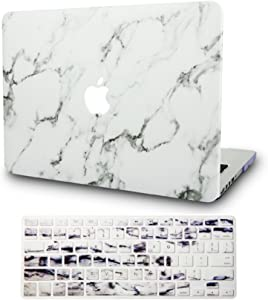 "KECC Laptop Case for Old MacBook Pro 13"" Retina (-2015) w/Keyboard Cover Italian Leather Case A1502/A1425 2 in 1 Bundle (White Marble Leather)"