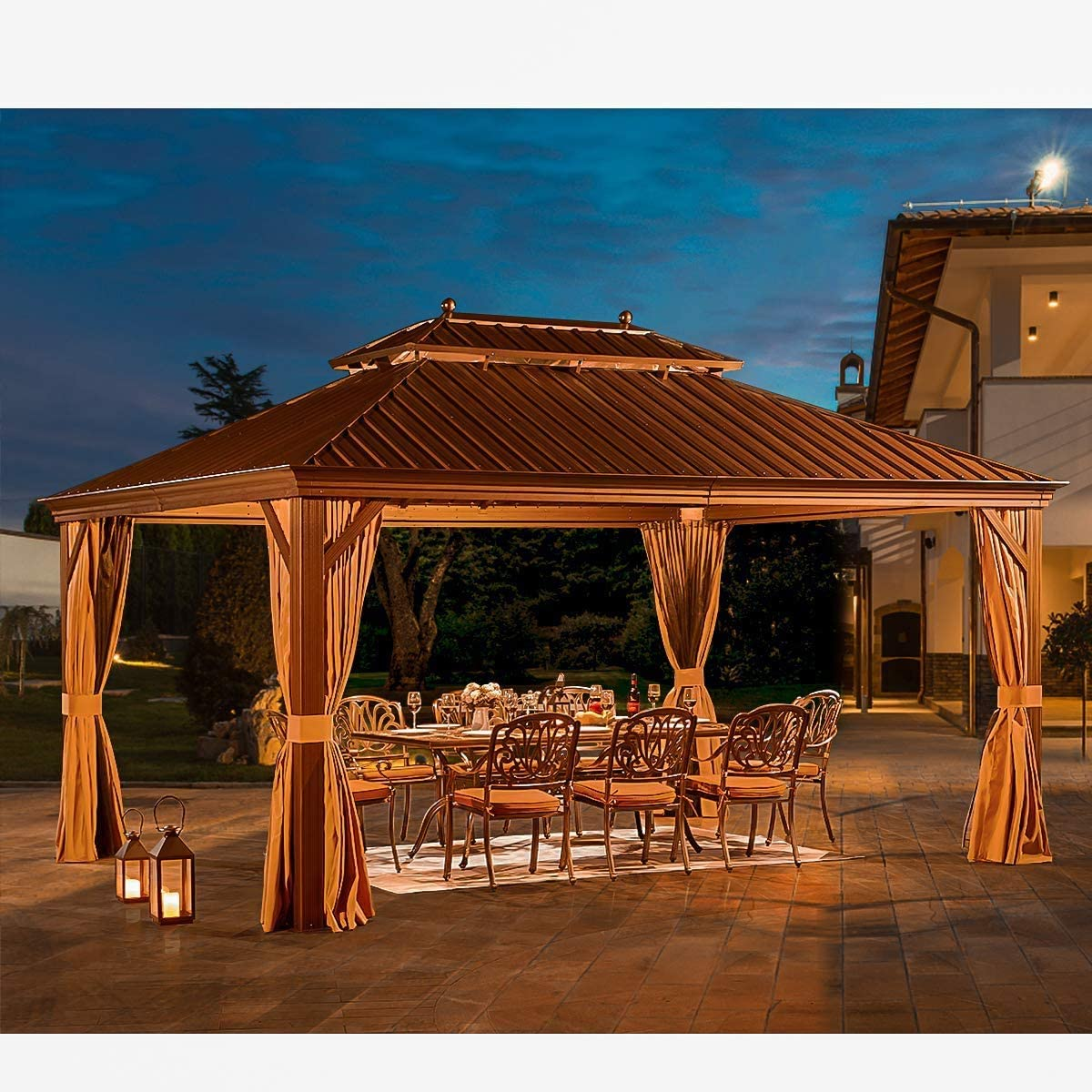 YOLENY 12' X 16' Hardtop Gazebo Galvanized Steel Outdoor Gazebo Canopy Double Vented Roof Pergolas Aluminum Frame with Netting and Curtains for Garden,Patio,Lawns,Parties