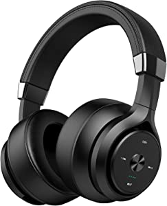 4 Driver Units EQ Bass 40 Hours Playtime Bluetooth Headphones Picun Wireless Headphones Over Ear Hybrid Hifi Stereo Headset w/ HD Mic, Soft Protein Earpads for Cellphone Gym Workout Home Office -Black