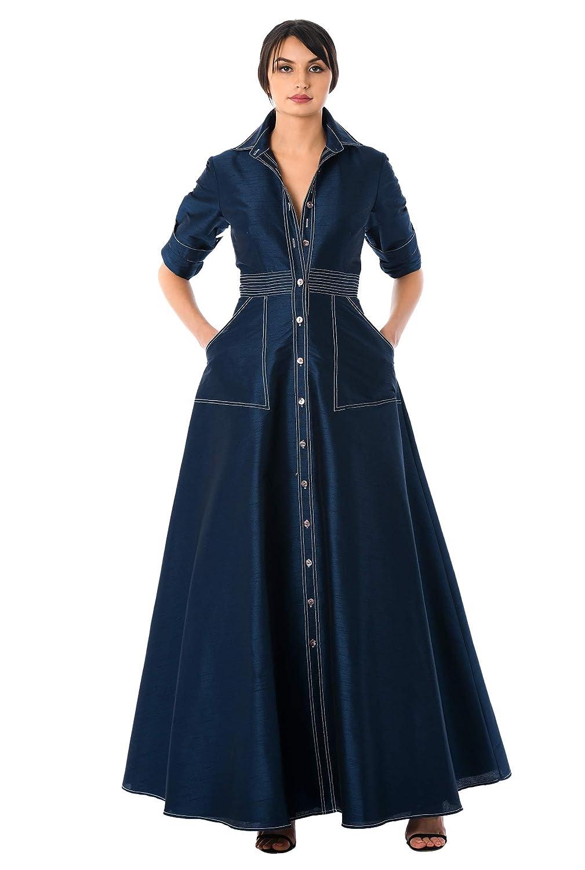 f5c47fd3812 eShakti Women s Trapunto Waist Dupioni Maxi Shirtdress at Amazon Women s  Clothing store
