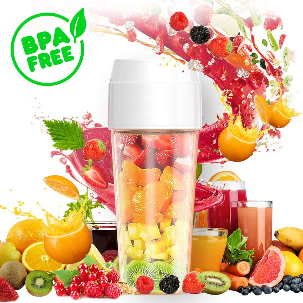 Portable Blender, Mini Personal Blender,Small Smoothie Blender, Fruit Juicer Mixer for Home Outdoor Travel Office with USB Rechargeable, BPA Free,350ml White