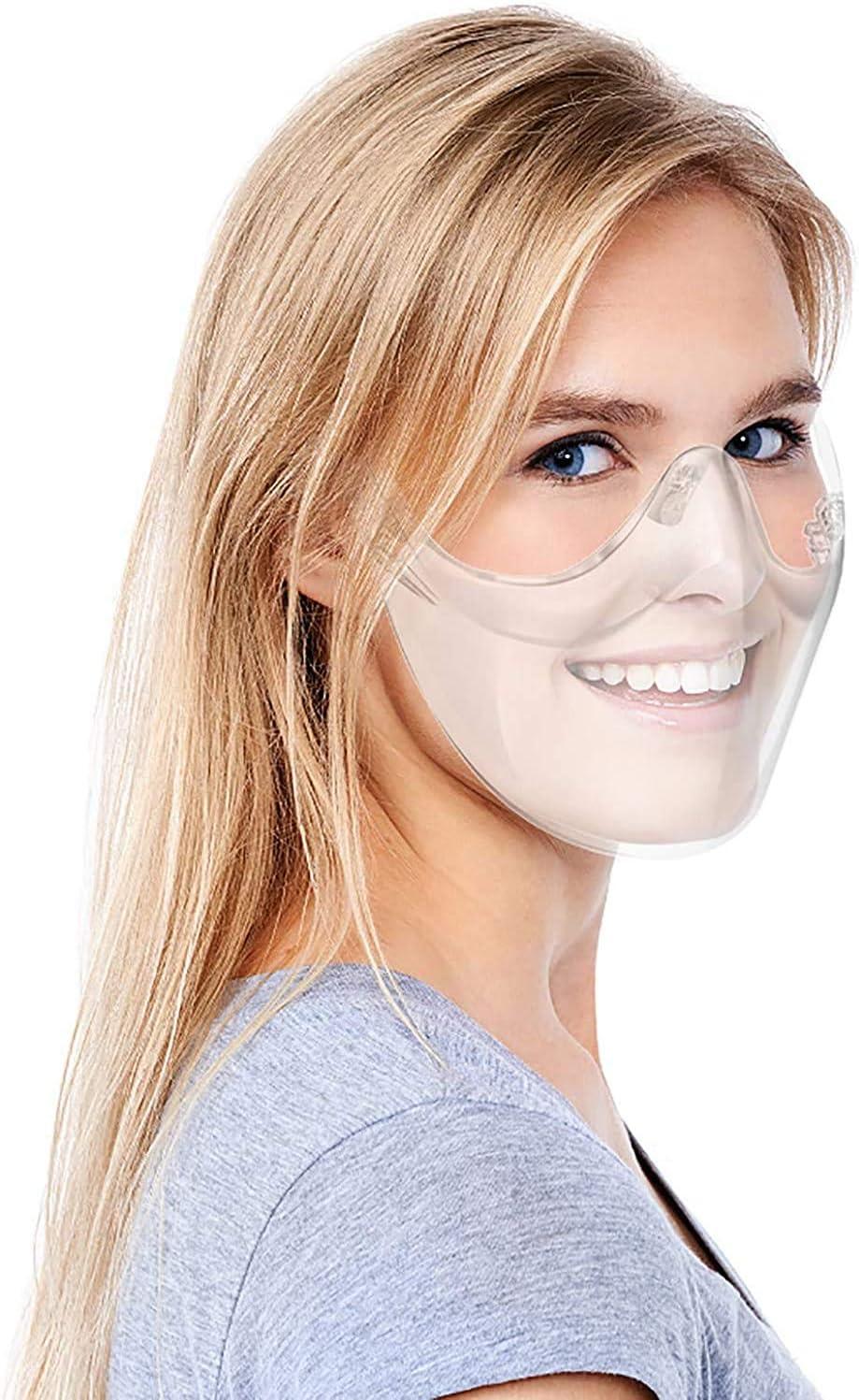 le nez et la bouche pour hommes Adultes Clear Face/_Shields Transparent/_Face/_Mask Anti Fog Shields Verres r/éutilisables en plastique durable Boucliers con/çus Couvre-visage l/éger pour prot/éger les yeux
