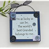 A Grandad Gift Blue Wooden Plaque Medium