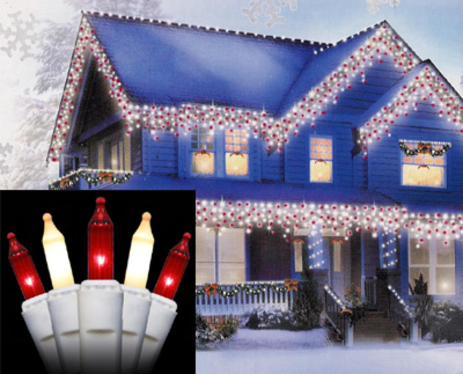 Amazon.com: Set of 100 Red and Frosted White Mini Icicle Christmas ...