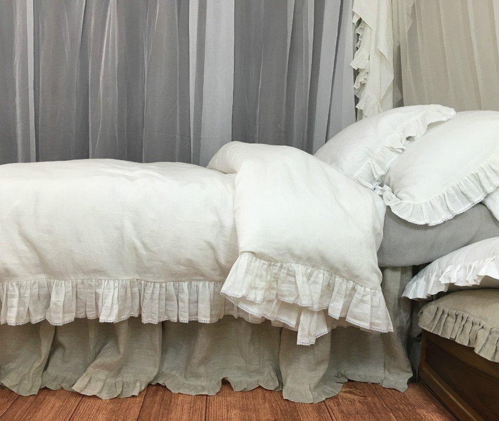 Amazon.com: Soft white ruffle duvet cover with lace hem ...