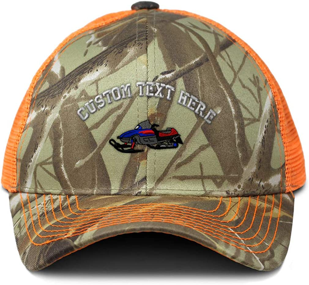 Custom Camo Mesh Trucker Hat Royal Blue Snowmobile Embroidery Cotton One Size