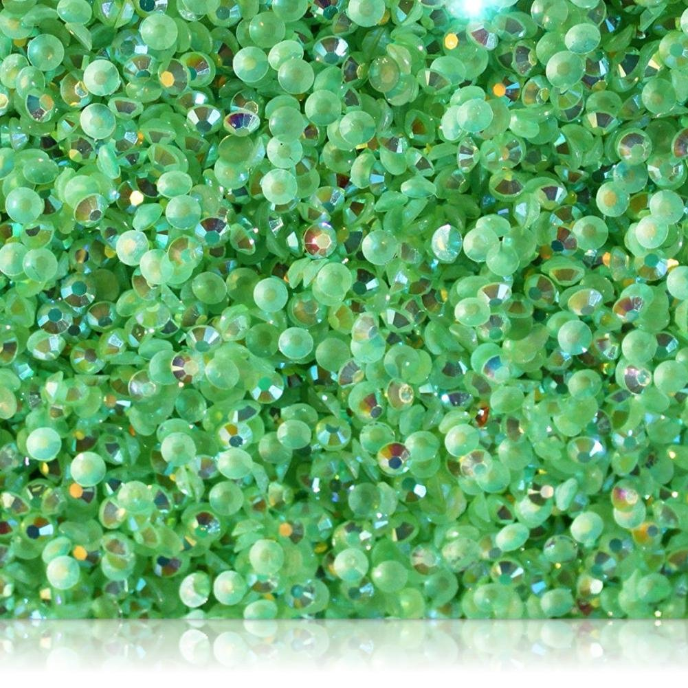 "100% Custom Made (3mm) 1000 Bulk Pieces of Mini Size ""Glue-On"" Flatback Embellishments for Decorating, Made of Acrylic Resin w/Shiny Iridescent Crafting Rhinestone Crystal Iced Emerald Style {Green}"