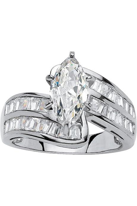 Teardrop Silhouette Ring Rhodium Plated