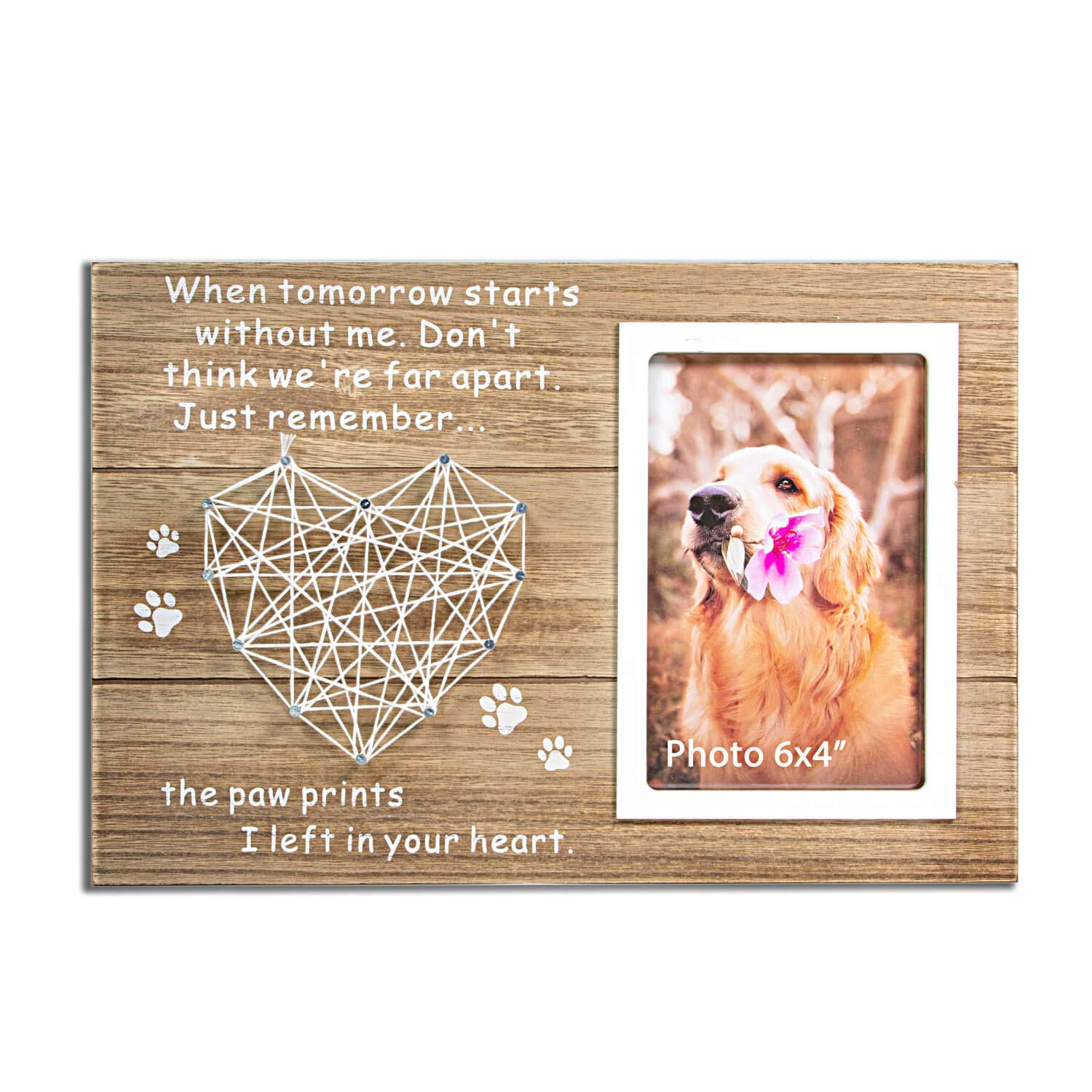 VILIGHT Dog and Cat Memorial Gifts - Paw Prints Sympathy Picture Frame for Pet Loss with Card - for 4x6 Inches Photo by VILIGHT