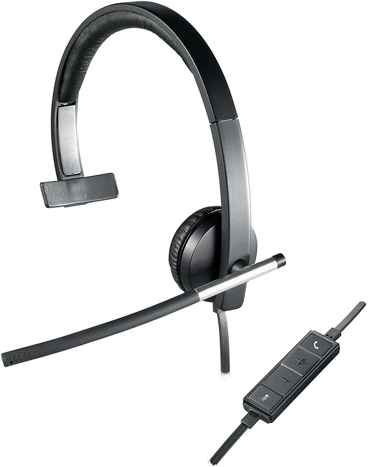 Mono Headphone with Noise-Cancelling Microphone USB In-Line Controls Indicator LED PC//Mac//Laptop Logitech H650e Wired Headset