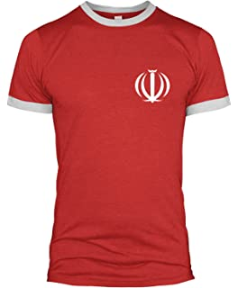 167381fd9 Iran Retro Badge Ringer T Shirt Kit Football World Cup Iranian Men 2018 L254