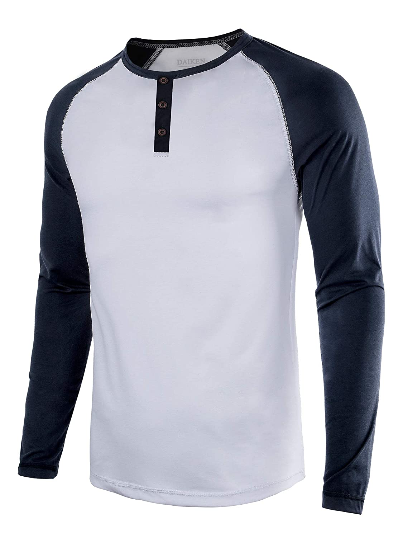 HASIZHE Men's Casual Slim Fit Long Sleeve T-Shirt Basic Henley Baseball Raglan Shirts Casual Tee Top - Lightweight