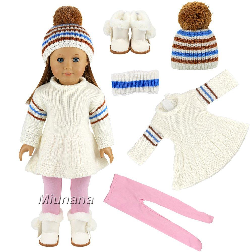 Miunana Robe Hiver Mignonne + Botte + Bonnet + Legging pour 46cm Poupée Gotz Poupée American Girl 18 Pouces