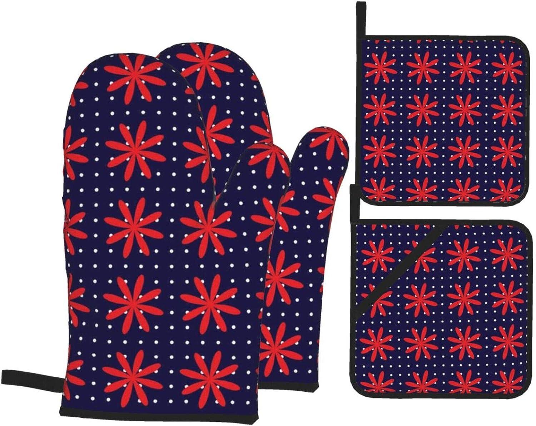 vilico 4 manoplas de horno y soportes para ollas, grandes flores rojas y lunares, guantes resistentes al calor y almohadillas antideslizantes para barbacoa, cocinar, hornear, protección de manos