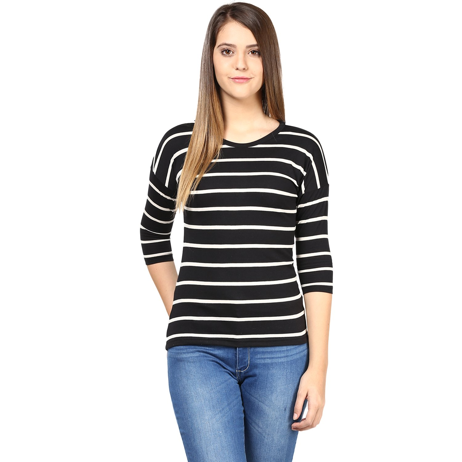 Hypernation Black and White Color Stripped T-Shirts For Women: Amazon.in:  Clothing & Accessories