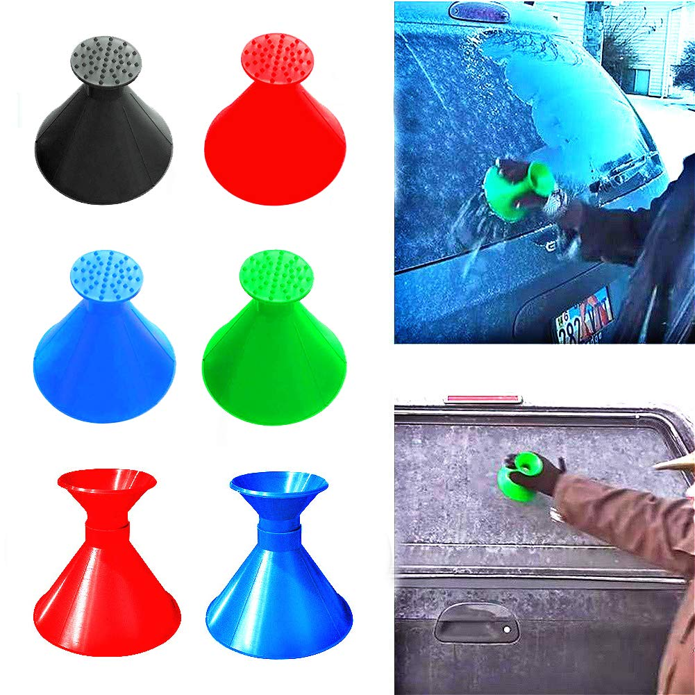 Gorgebuy Windshield Ice Scraper - Scrape-A-Round Snow Removal - Cone Funnel Shaped for Automotive Glass/Rearview Mirror/Car Window