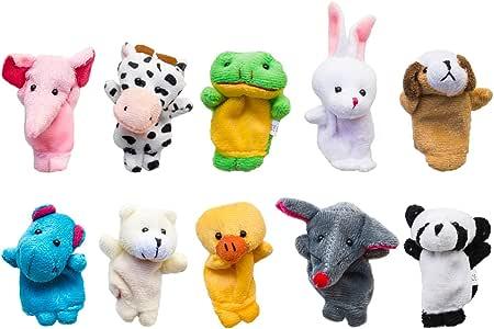 Velvet Cute Animal Style Finger Puppets for Children, Shows, Playtime, Schools-10 pcs