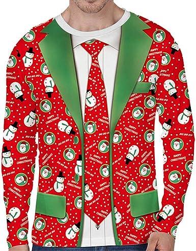 T para Hombre de Navidad Camisa de Dos Piezas Falso de Las Camisetas de la Manga de los Hombres 3D Nuevo Camiseta Larga Hombre Casual Slim Fit Hip Hop RD1 Asia M: