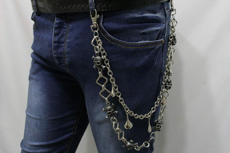 Men Silver Metal Wallet Chain Jeans Rock 2 Strands Pirate Skulls Skeleton Biker #ID-2546