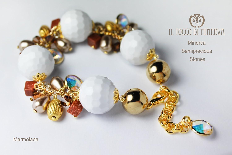 Pulseras Brazaletes Piedras multicolores y pulsera de swarovski Marmolada Hecho a Mano Made in Italy