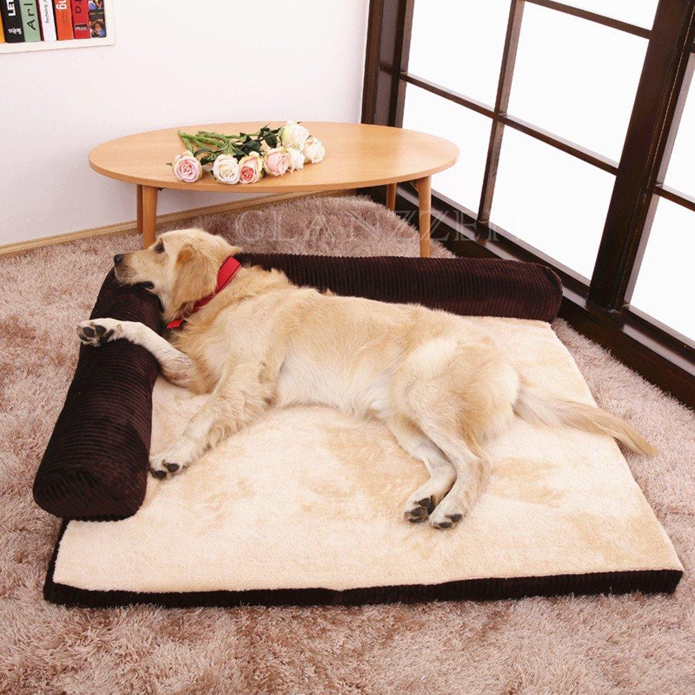 Glanzzeit Dog Bed Pet Sofa Cushion Bolster Warm Mattress for Small Medium Large Breeds (XL, Brown) by Glanzzeit