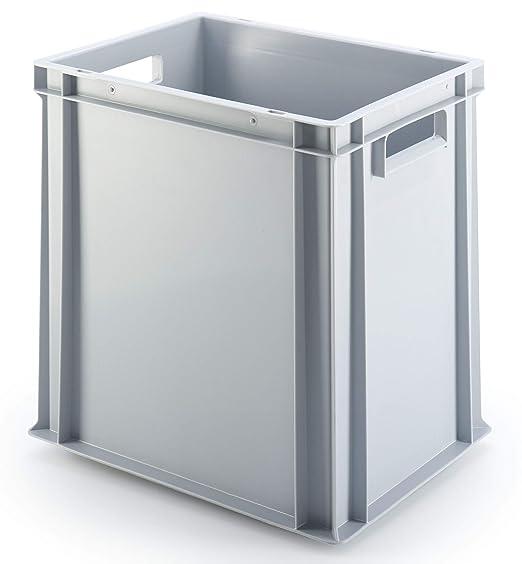 grau /ähnl verst/ärkter Rippenboden lebensmittelecht 400x300x400 mm Euro-Stapelbox EB-440 2 Handgriffe RAL7001 37 Liter Vol. ca aus Polypropylen LxBxH